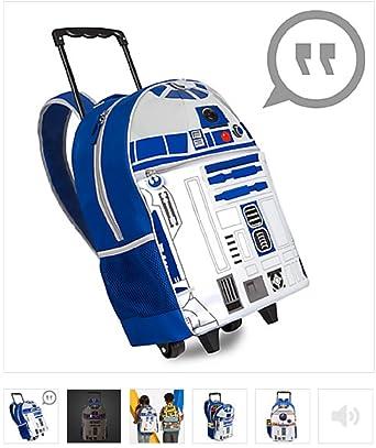 Amazon.com | Disney - R2-D2 Talking Light-Up Rolling Backpack ...