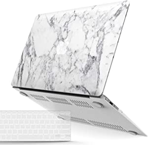 IBENZER MacBook Air 13 Inch Case A1466 A1369, Hard Shell Case with Keyboard Cover for Apple Mac Air 13 Old Version 2017 2016 2015 2014 2013 2012 2011 2010, White Marble, A1301WHMB+1A