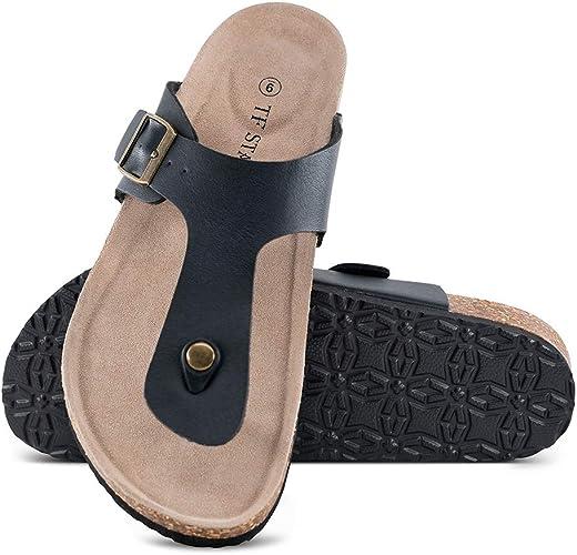 Para hombre de cuero marrón Grande tamaño la agarre Tanga Sandalias Verano Slip On Zapatillas