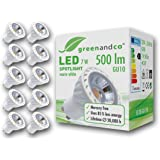 Greenandco® - Set de 10 Spots LED GU10 / 7W / 2700K (blanc chaud) / 230V AC