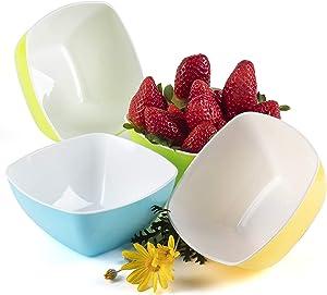 Cereal Bowls Kids Breakfast Plastic Bowl Individual Snack Popcorn Dessert Soup - Set of 4