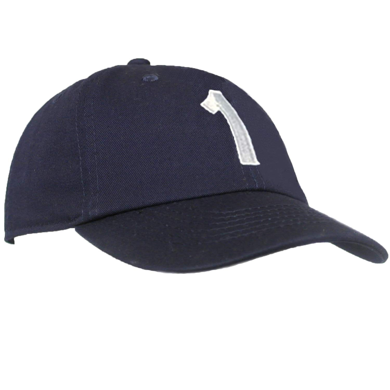 Tiny Expressions - Monogrammed Toddler & Kids Baseball Cap | Adjustable Navy Hat (1, 2-6yrs)