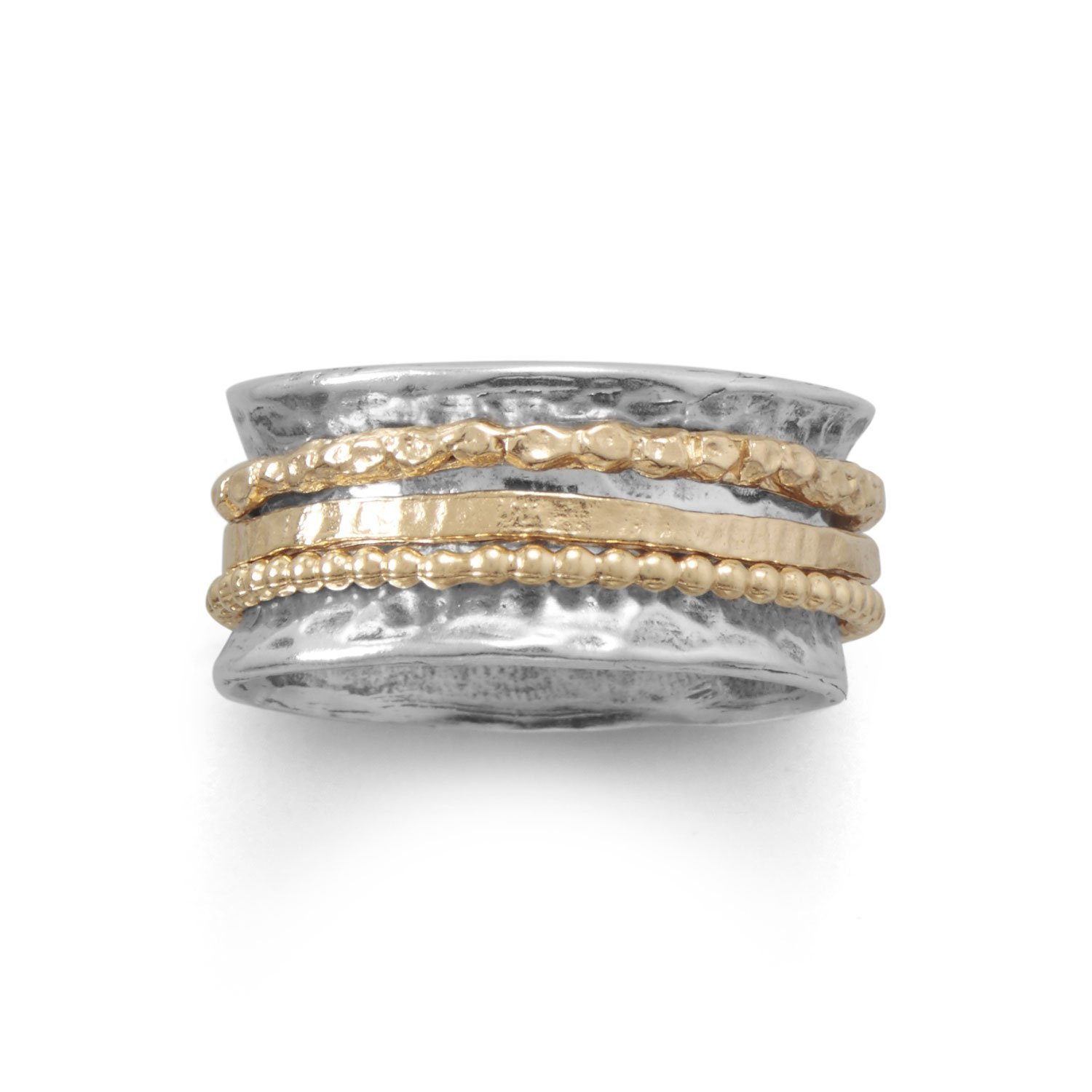 Spin Ring with Three Gold Spinning Bands Hammered Antiqued Sterling Silver, 6
