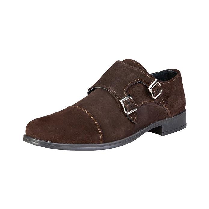 Pierre Cardin Hombre Marrón Daniel Cuero Zapatos De Correa De Monje 46 EU: Amazon.es: Zapatos y complementos