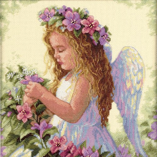 Dimensions 'Passion Flower Angel' Counted Cross Stitch Kit, 14 Count Ivory Aida, 11