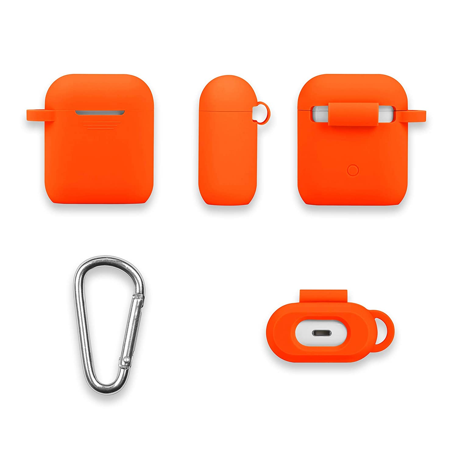 GMYLE Silicone Protective Shockproof Wireless Charging Airpods Earbuds Case Cover Skin with Keychain Set Compatible for Apple AirPods 1 /& 2 AirPods Case Sky Blue