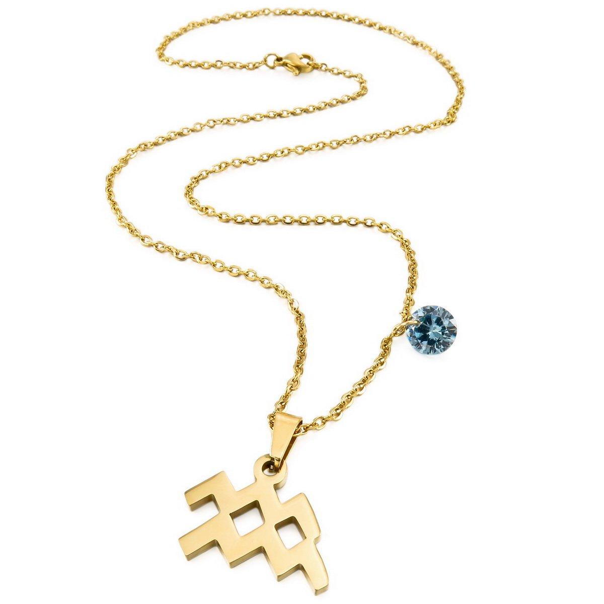 MunkiMix Edelstahl Glas Anh/änger Halskette Horoskop Tierkreis Sternzeichen Golden Ton Herren,Damen