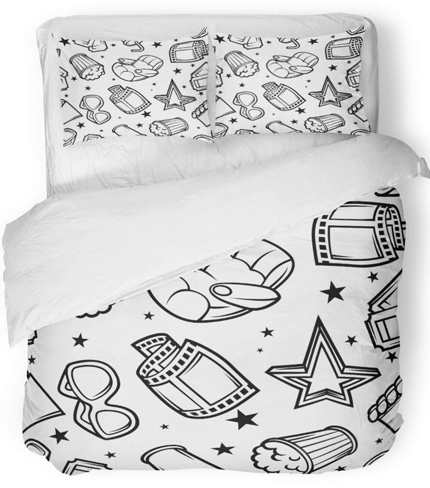 Emvency Bedsure Duvet Cover Set Closure Printed Decorative Cine of 3D Movie and Cinema in Cartoon Style Film Pop Popcorn Ticket Black Breathable Bedding Set With 2 Pillow Shams Full/Queen Size