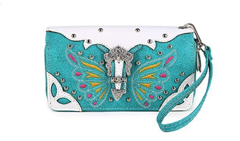 Western Wallet - Colorful Butterfly Design Wallet accented with a Silver Buckle, Rhinestones, and Studs