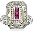 Sterling Silver and 14k Yellow Gold Created Ruby and Diamond Art Deco - Style Ring, Size 5