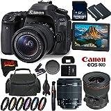 Canon EOS 80D DSLR Camera + 18-55mm Lens + Canon TS-E 24mm f/3.5L II Tilt-Shift Lens + 128GB Memory Card International Version