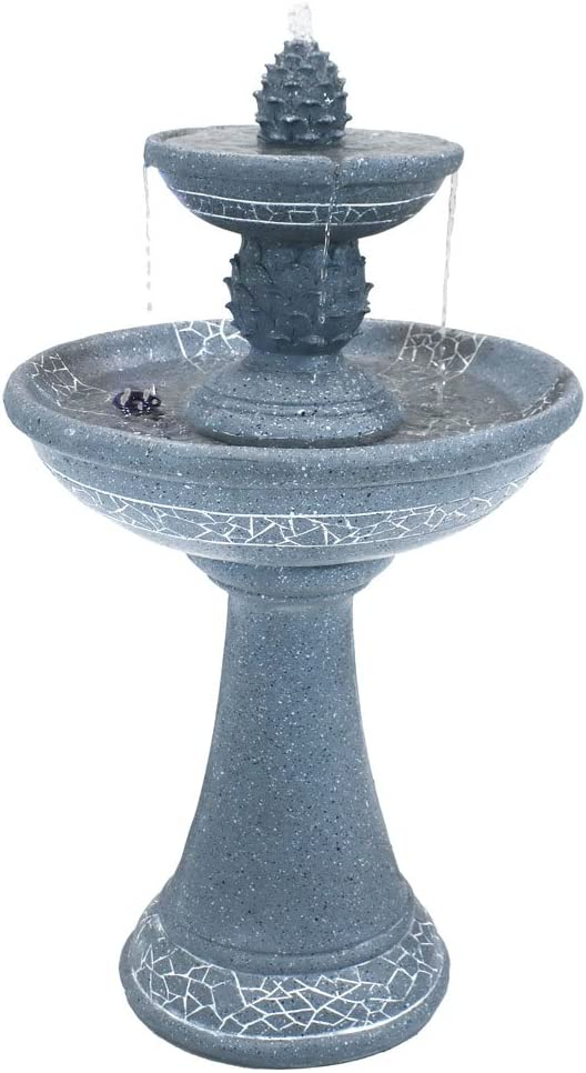Sunnydaze Solar Outdoor Water Fountain with LED Lights - Dual Pineapple 2-Tier Cascading Water Feature - Outside Garden and Patio Modern Decor - Rechargeable Solar Battery Backup - 34-Inch
