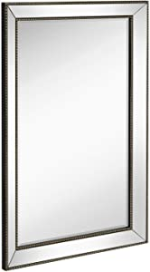 Hamilton Hills Large Framed Wall Mirror with Angled Beveled Mirror Frame and Beaded Accents | Premium Silver Backed Glass Panel | Vanity or Bathroom Rectangle Horizontal or Vertical (24