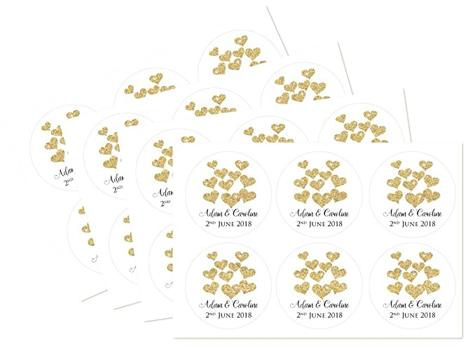 Personalised gold heart thank you stickers pack of 24 60mm diameter for weddings