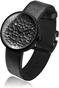 Project Watches Carve 40 MM Watch, Black IP Stainless Steel / Black Leather Band