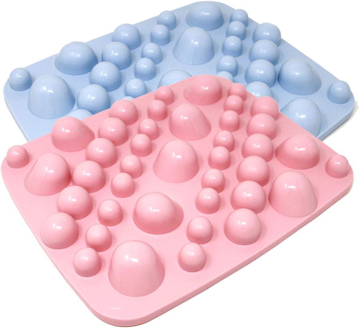 Foot Massage Mat Accupressure Mats, Feet Massager Massage Pad, Therapy Foot Massager Plantar Fasciitis, Made in Japan, Round Stone Pink