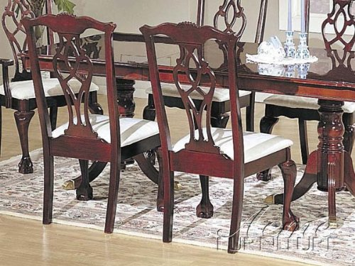 Amazoncom Set Of 2 Chippendale Cherry Finish Wood Dining Chairs