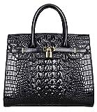 PIJUSHI Women Purses And Handbags Crocodile Top Handle Satchel Bags Designer Padlock Handbags (22130 Black)