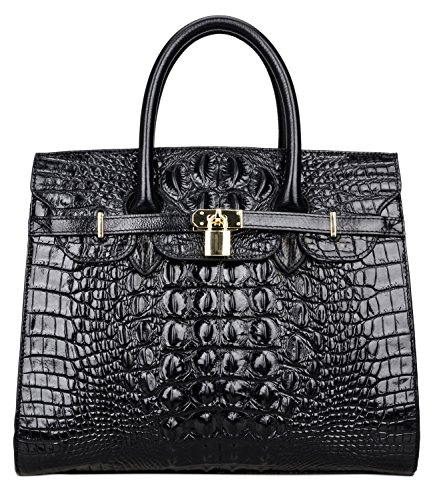 35 Birkin Bag - Pijushi Embossed Crocodile Purse Genuine Leather Satchel Handbags Office Padlock Bag 22130 Black