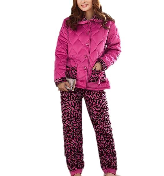 Mujer Pijamas De Invierno Estampado De Leopardo Gruesos Homewear Manga Larga Ropa De Dormir,Purple