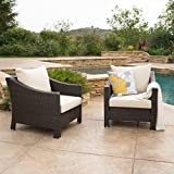 Caspian Outdoor Patio Furniture Multibrown Wicker Club Chair with Beige Water Resistant Fabric Cushions (Set of 2)