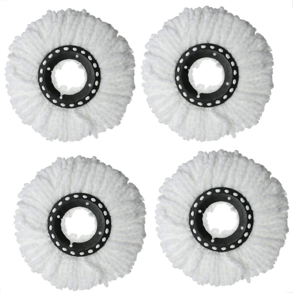 Mop Replacement Head, 4 Pack Microfiber 360 Spin Mop Refill Head Replacements - White Centtechi