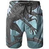 HZamora/_H Men Purple Galaxy Dragon Summer Breathable Quick-Drying Swim Trunks Beach Shorts Board Shorts L