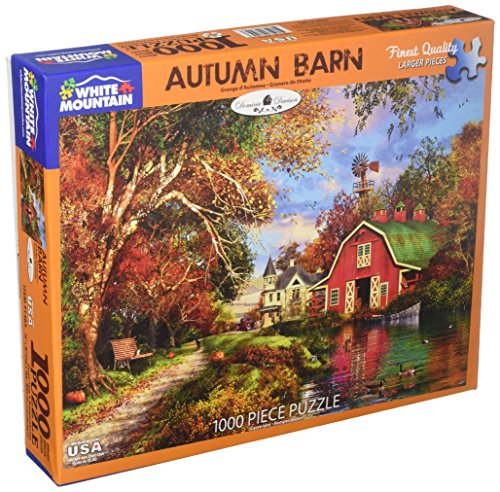 White Mountain Puzzles Autumn Barn Jigsaw Puzzle, 1000 Piece-Designer: Domenic (Autumn Pond)
