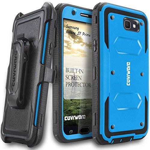 Samsung Galaxy J7 Prime/J7 Sky Pro/J7 Perx/J7 V 2017/J7 2017 Case, COVRWARE [Aegis Series] w/Built-in [Screen Protector] Heavy Duty Full-Body Rugged Holster Armor Cover [Belt Clip][Kickstand], Blue