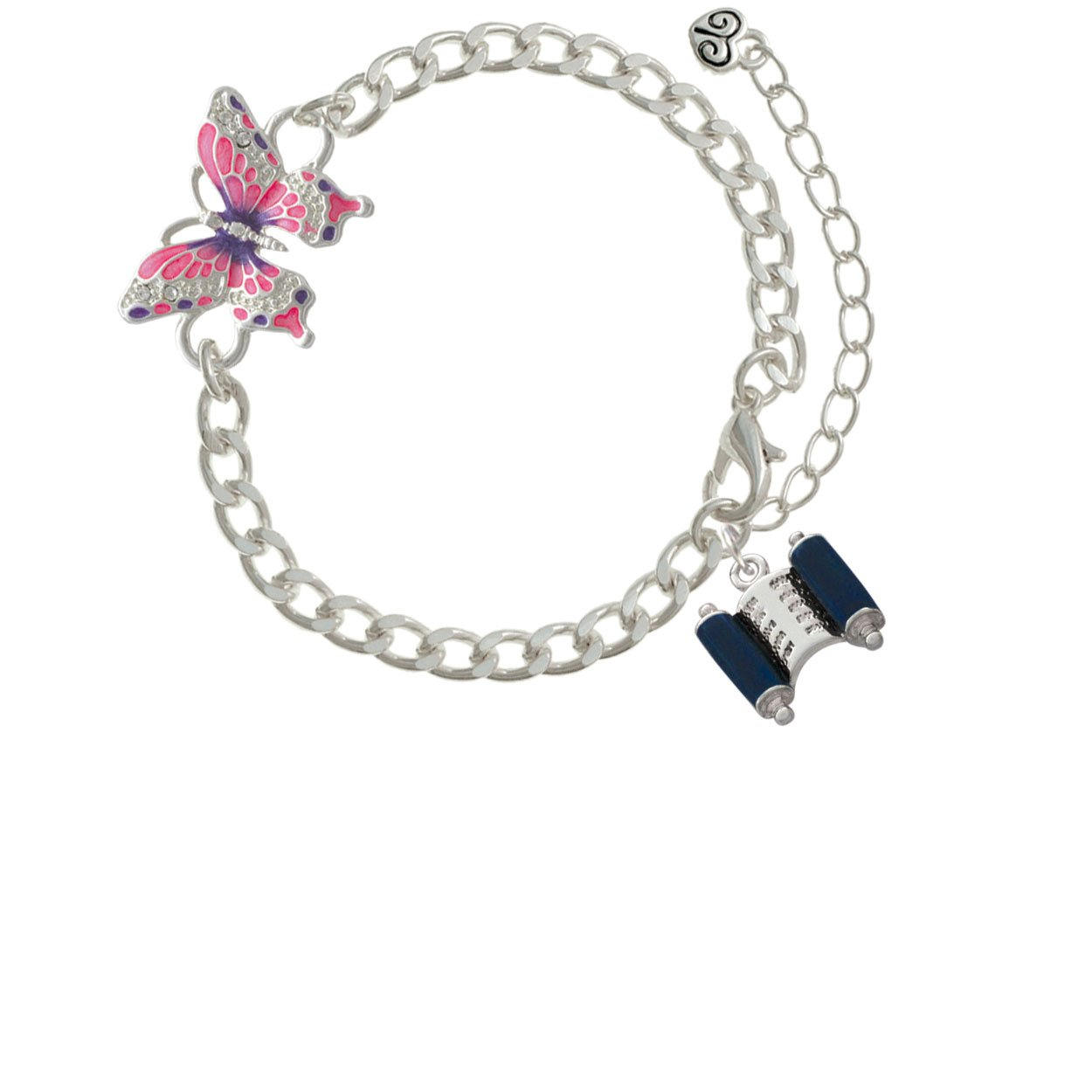 Blue Torah Scroll Pink Butterfly Link Charm Bracelet