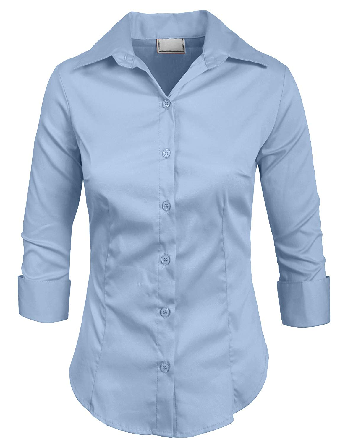 acf6c68358 NE PEOPLE Womens Stretch 3 4 Sleeve Roll Up Button Down Shirt NEWT01