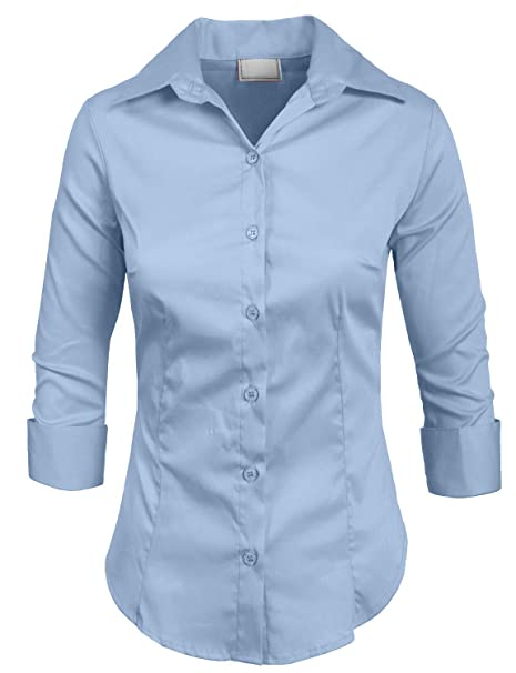 c5ae59cb NE PEOPLE Womens Stretch 3/4 Sleeve Roll Up Button Down Shirt at Amazon  Women's Clothing store:
