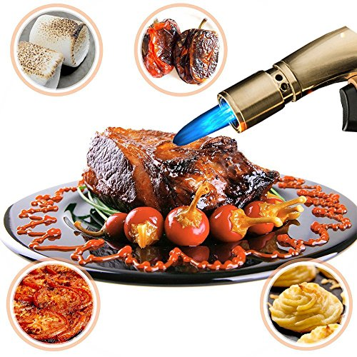Cooking Torch Kitchen Blow Torch Butane Refillable Quadruple Torch Jet Flame Windproof Cigarette Cigar Lighter for Cigar Cooking BBQ Topsense