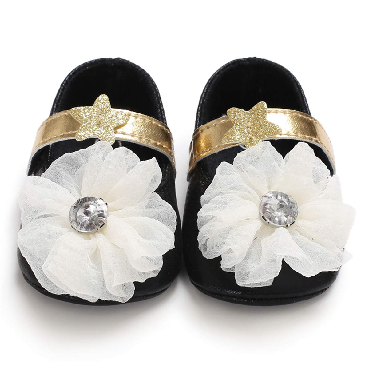 Infant Baby Girls Dress Shoes Soft Sole Anti-Slip Toddler Bowknots Flowers Princess Party Bright Leather Flats