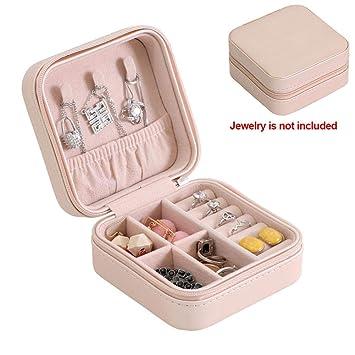 19a821f301b8 Joyero de viaje de piel sintética portátil organizador de joyas caja de almacenamiento  para anillos