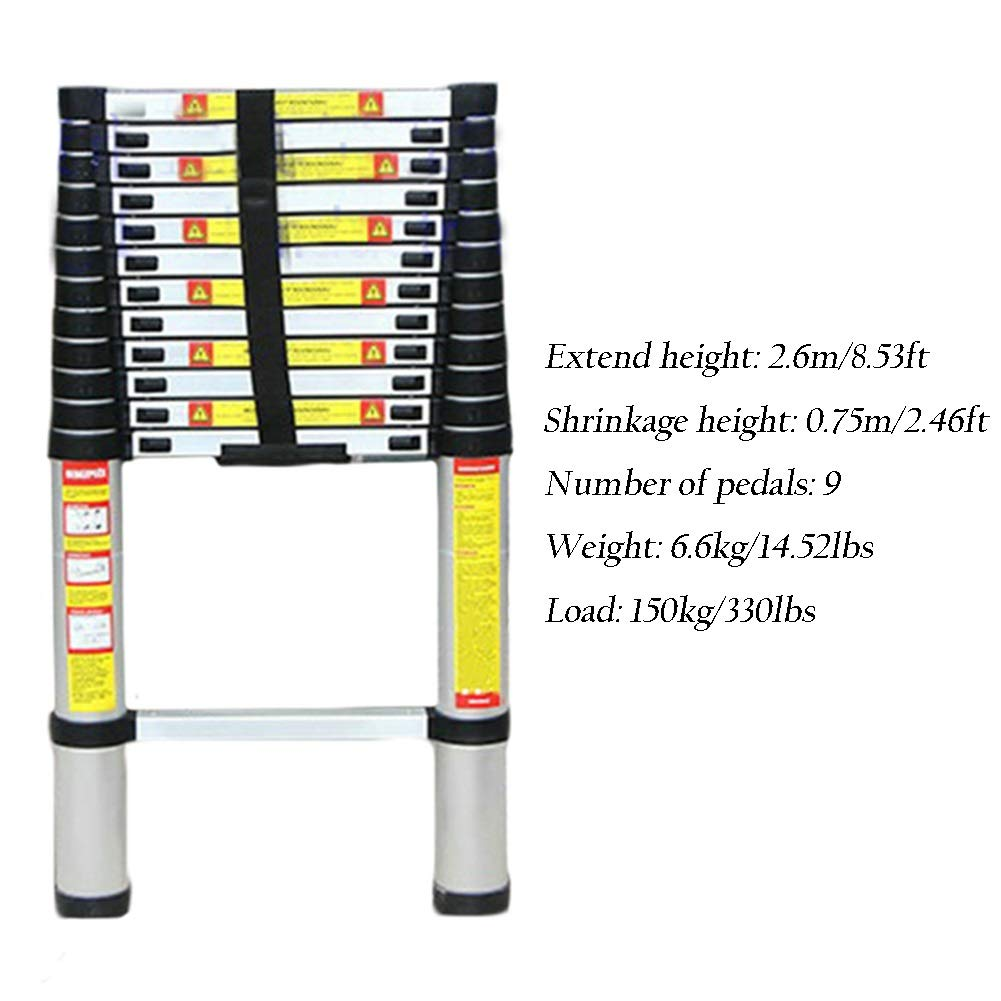 Size : 1.4m//4.6ft Heavy Duty Telescoping Ladder 1.4m-6.2m Telescopic Extension Ladder for Industrial Household Daily or Emergency Use Aluminum