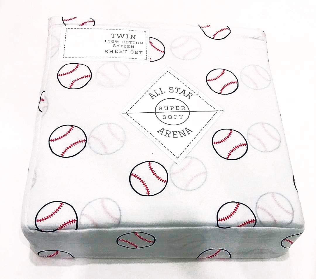 Sheet Set ALL STAR ARENA Boys Sports//Baseball Themed Twin 3-pc 100/% Easy-Care and Durable Cotton