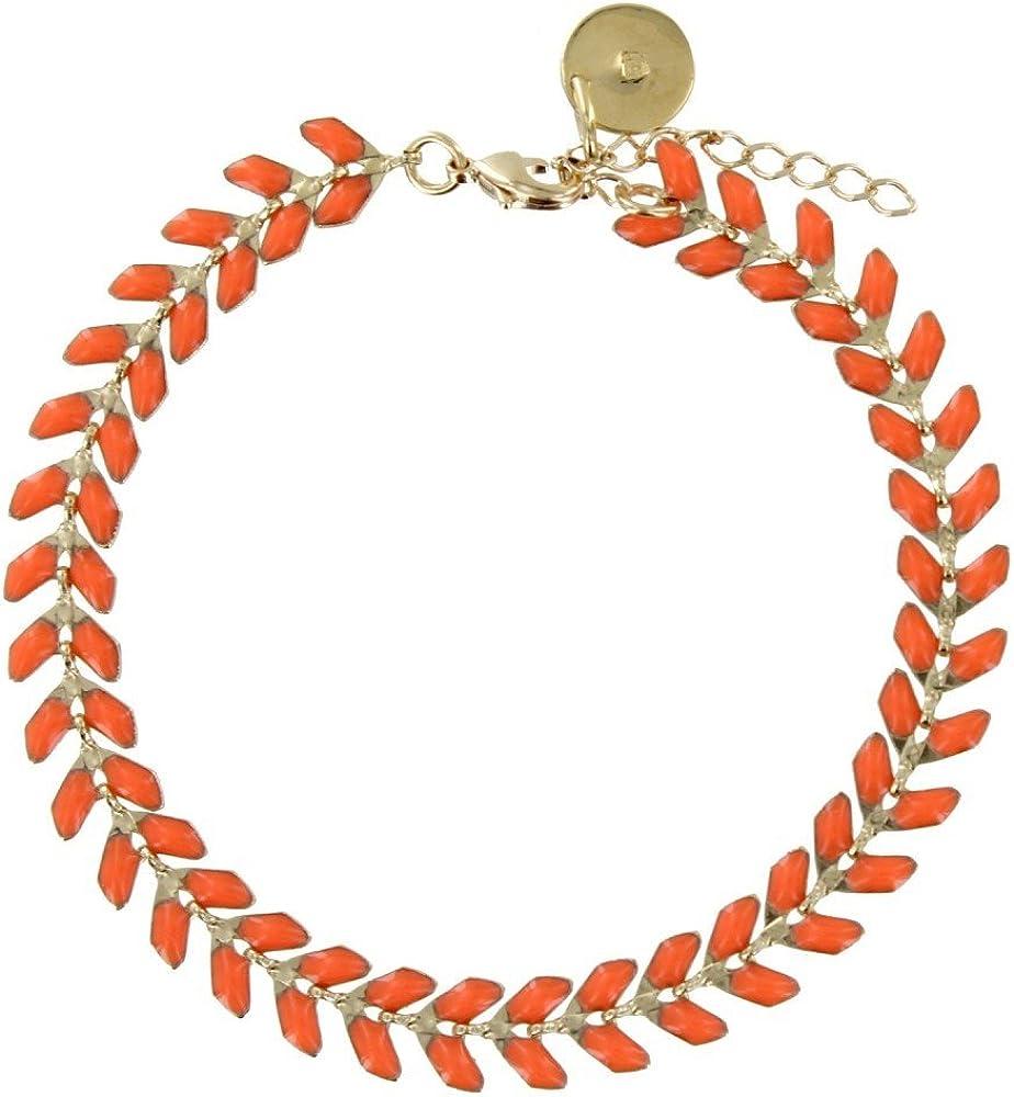 Colors Les Poulettes Bijoux Bracelet Laurier Plaqu/é Or et Email