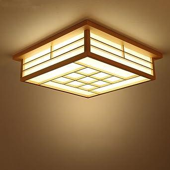 GQLB Japanische Deckenleuchte Led Tatami Lampe 45 * 45 * 12 Cm Holz ...