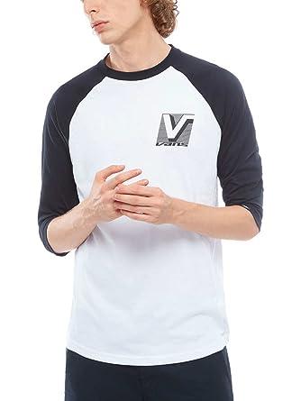 Mens Vans Classic Raglan 3/4 Sleeve Sports Shirt, Multicoloured (White/Cardinal/Black), Large Vans