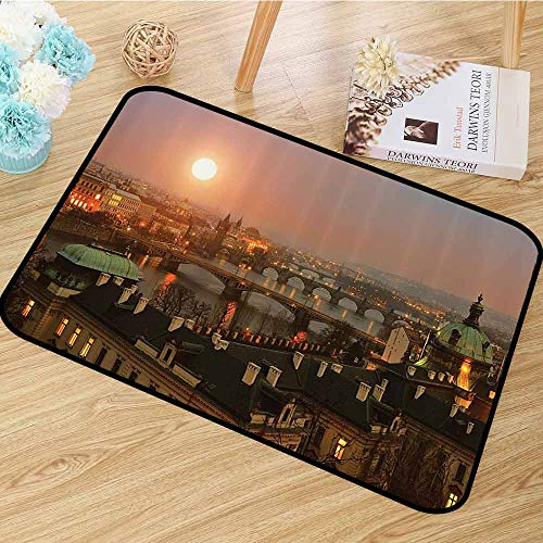 European Cityscape Decor Collection Area Floor Rugs Aerial Scenery on Prague Bridges at Sunset Gothic Medieval Buildings European Deco Anti-Static W55 x L63 -