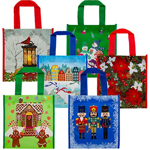 6 Pack Small Holiday Gift Tote Bags Reusable Material For Christmas Presents Cookies Candy Set