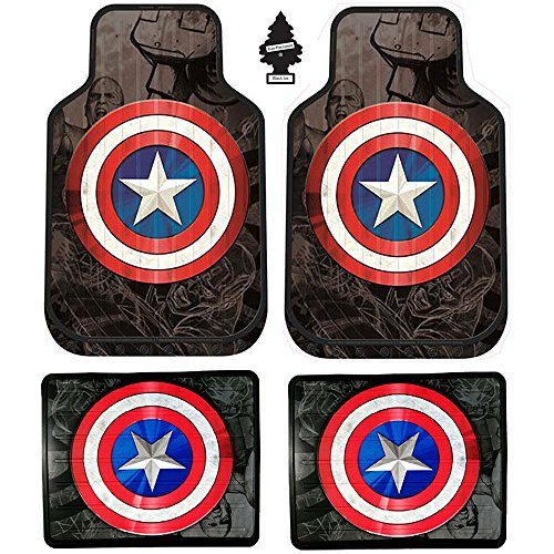 Set of 4 New Design Marvel Superhero Captain America Auto Truck SUV Car Floor Mats with Air Freshener