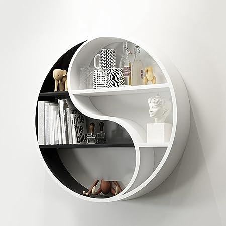 QIANDA Wall Shelves Floating Shelf Circular Bookshelf Hang Wall Wall