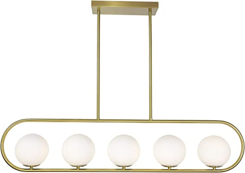 TULUCE 5-Light Modern Globe Pendant Light,Contemporary Matte White with Aged Brass Finish, Modern Style Chandeliers Lighting Fixture for Kitchen Living Room Dining Room Living Room Foyer