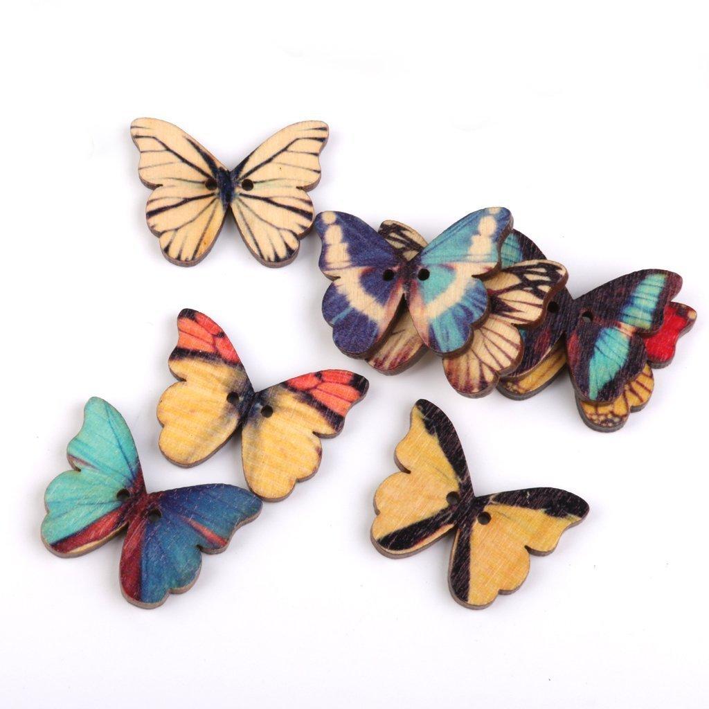 Leisial 100pz farfalla pittura bottoni in legno per cucito fai da te e crafting, 100Pcs, 1