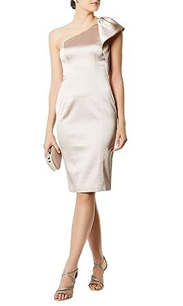 f305cea9e0a1 Karen Millen Satin One Shoulder Cocktail Dress Champagne Size 12   Amazon.co.uk  Clothing