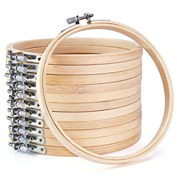 SODIAL 12 Pieces 6 Inch Wooden Embroidery Hoops Bulk Wholesale Bamboo Circle Cross Stitch Hoop Round Ring Art Craft Handy Sewing