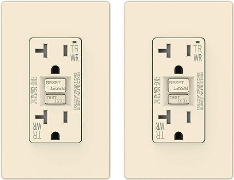 Ivory Gfi 20 Amp 10pcs 20 Amp GFCI Receptacle Outlet w// LED /& Wallplate UL