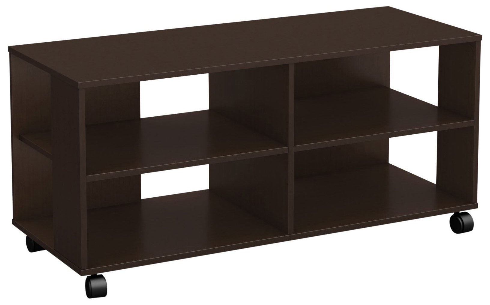 South Shore Jambory TV Stand Storage Unit on Casters - Fits TVs Up to 48'' Wide - Chocolate